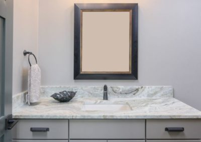 Miller Residence interior bathroom vanity and mirror
