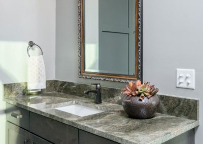 Miller Residence interior bathroom vanity with flowers