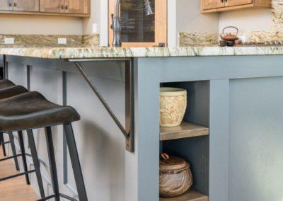 Miller Residence interior kitchen island shelves
